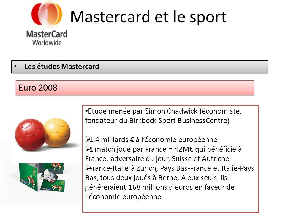 Mastercard et le sport Les études Mastercard Euro 2008 Etude menée par Simon Chadwick (économiste, fondateur du Birkbeck Sport BusinessCentre) 1,4 mil