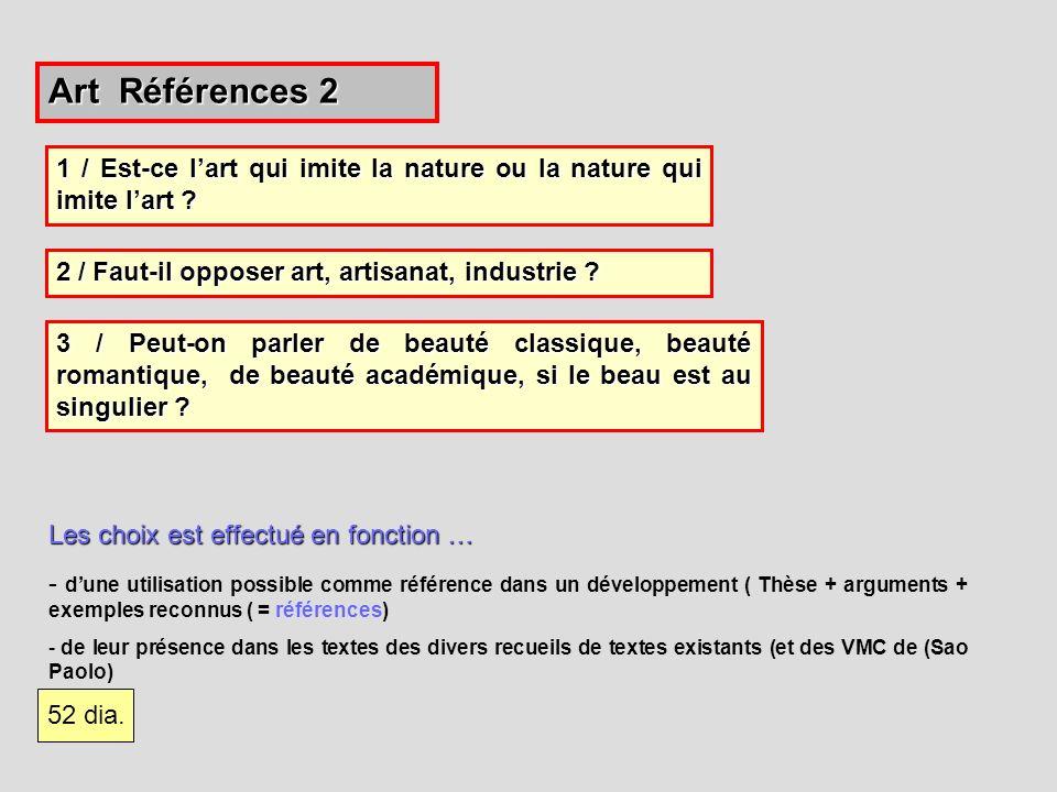 Art Références 2 Les choix est effectué en fonction … - dune utilisation possible comme référence dans un développement ( Thèse + arguments + exemples