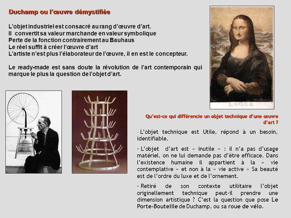Duchamp ou lœuvre démystifiée Lobjet industriel est consacré au rang dœuvre dart. Il convertit sa valeur marchande en valeur symbolique Perte de la fo