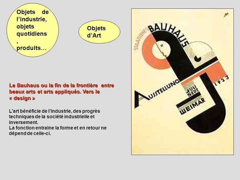 Le Bauhaus ou la fin de la frontière entre beaux arts et arts appliqués. Vers le « design » Lart bénéficie de lindustrie, des progrès techniques de la