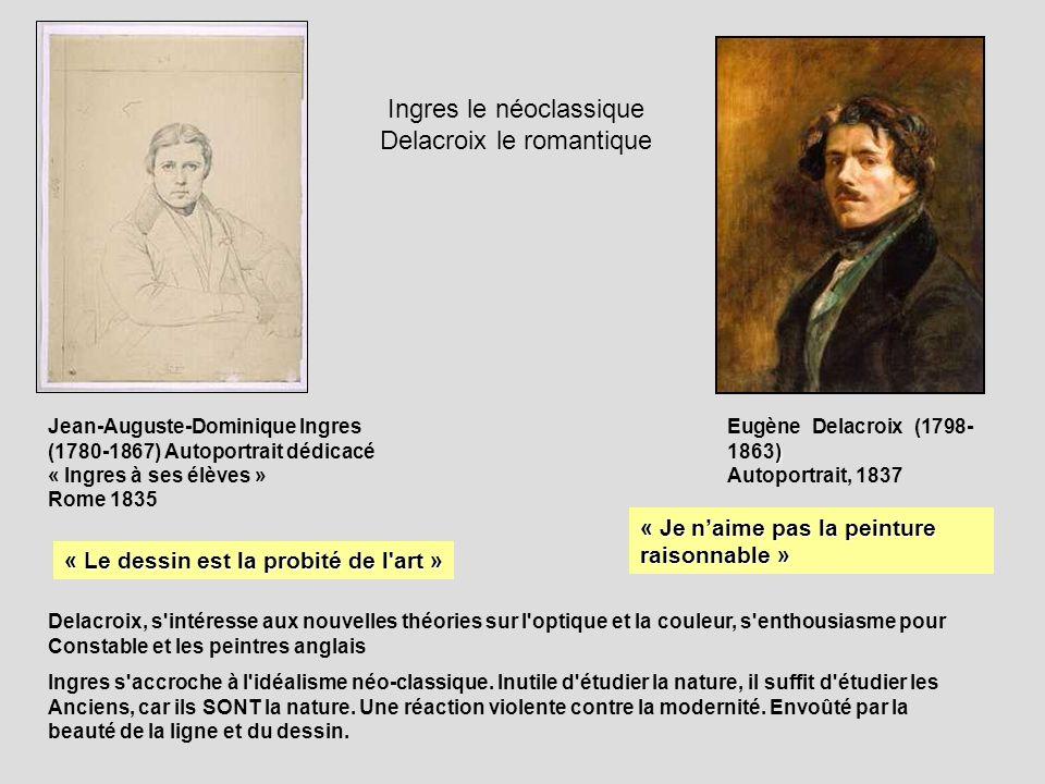 Jean-Auguste-Dominique Ingres (1780-1867) Autoportrait dédicacé « Ingres à ses élèves » Rome 1835 « Je naime pas la peinture raisonnable » ) Eugène De