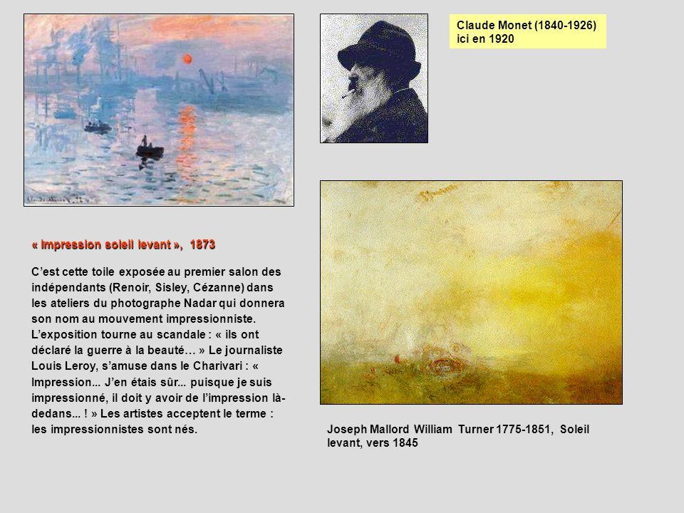 Claude Monet (1840-1926) ici en 1920 « Impression soleil levant », 1873 Cest cette toile exposée au premier salon des indépendants (Renoir, Sisley, Cé