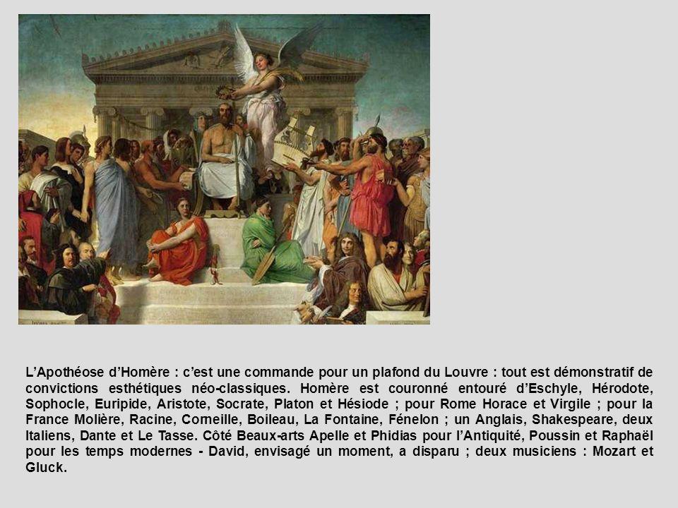 LApothéose dHomère : cest une commande pour un plafond du Louvre : tout est démonstratif de convictions esthétiques néo-classiques. Homère est couronn