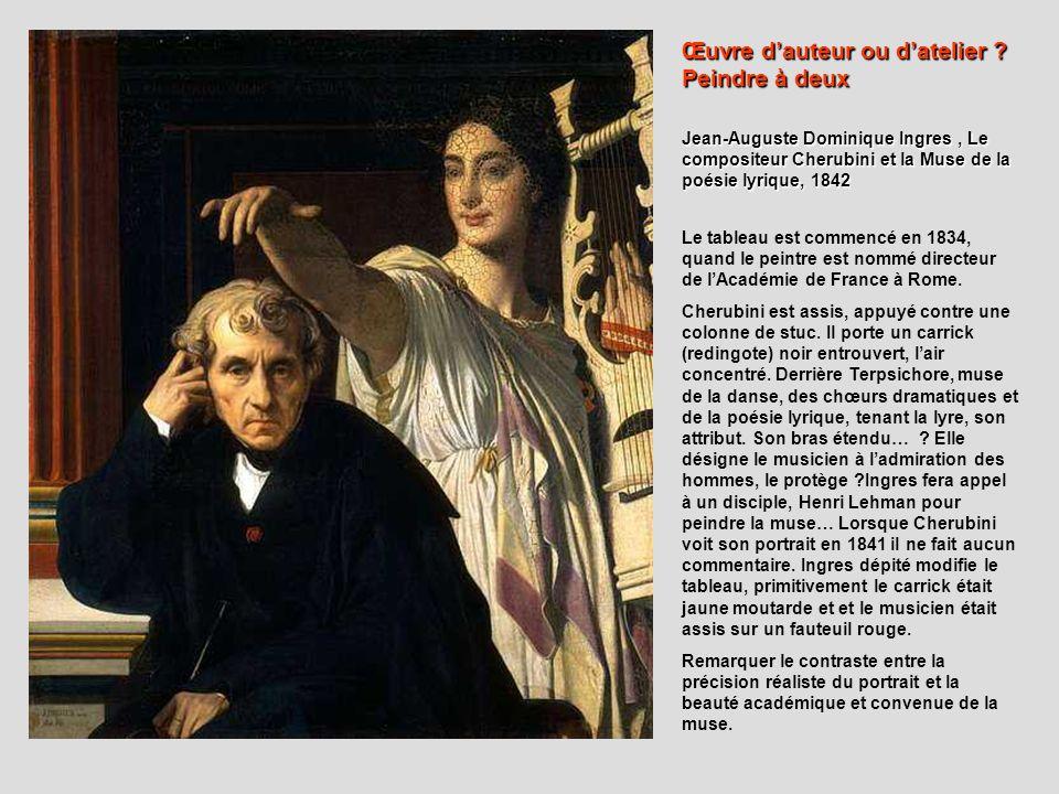 Jean-Auguste Dominique Ingres, Le compositeur Cherubini et la Muse de la poésie lyrique, 1842 Le tableau est commencé en 1834, quand le peintre est no