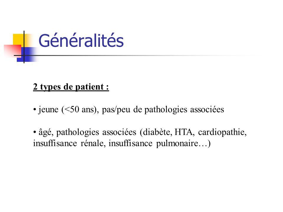 Généralités 2 types de patient : jeune (<50 ans), pas/peu de pathologies associées âgé, pathologies associées (diabète, HTA, cardiopathie, insuffisanc