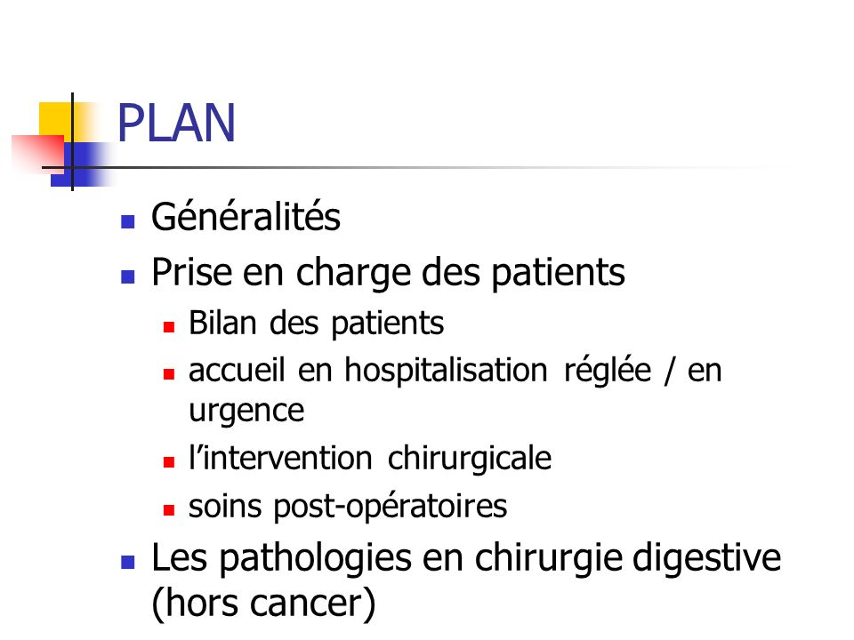 PLAN Généralités Prise en charge des patients Bilan des patients accueil en hospitalisation réglée / en urgence lintervention chirurgicale soins post-