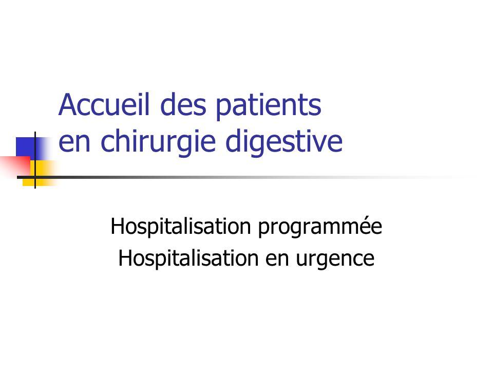 Accueil des patients en chirurgie digestive Hospitalisation programmée Hospitalisation en urgence