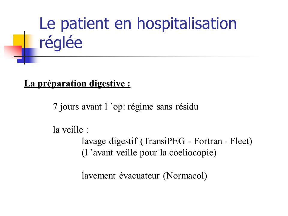 Le patient en hospitalisation réglée La préparation digestive : 7 jours avant l op: régime sans résidu la veille : lavage digestif (TransiPEG - Fortra