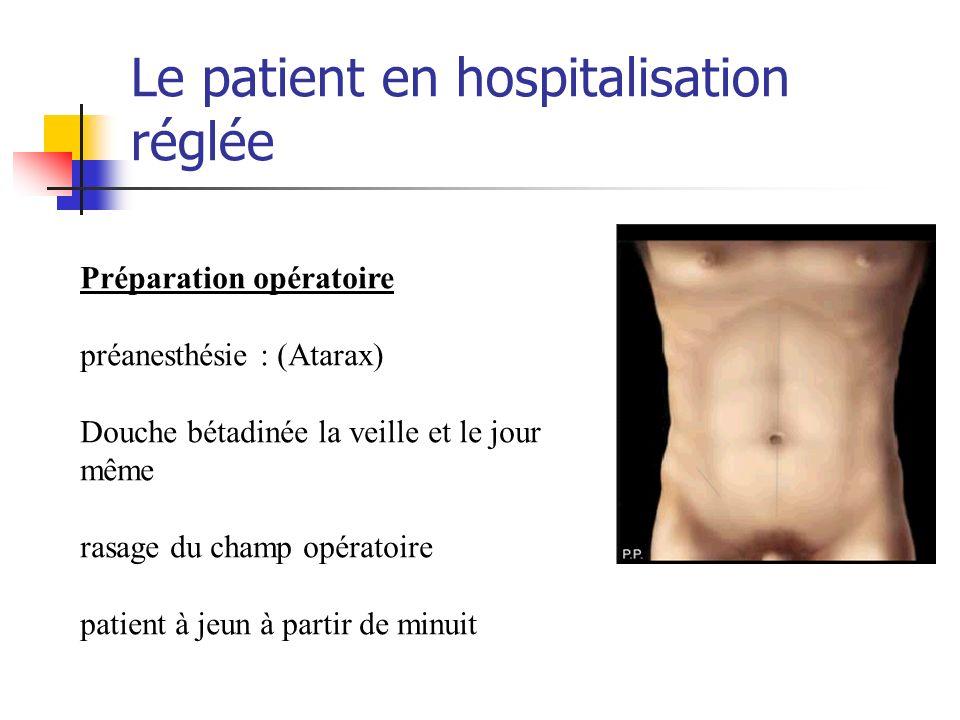 Le patient en hospitalisation réglée Préparation opératoire préanesthésie : (Atarax) Douche bétadinée la veille et le jour même rasage du champ opérat