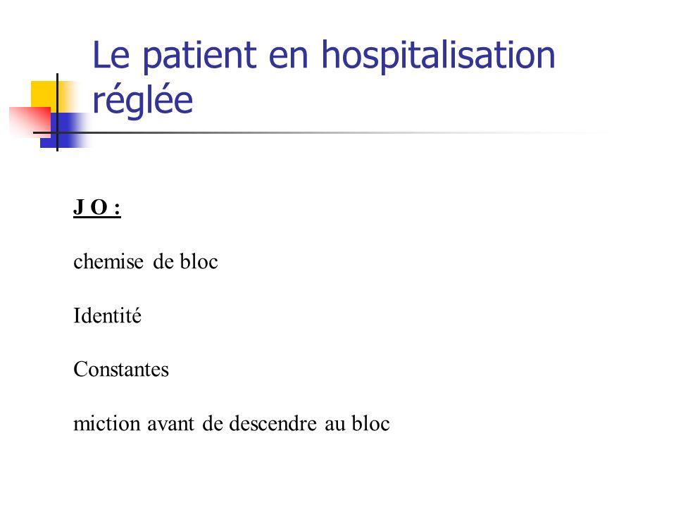 Le patient en hospitalisation réglée J O : chemise de bloc Identité Constantes miction avant de descendre au bloc