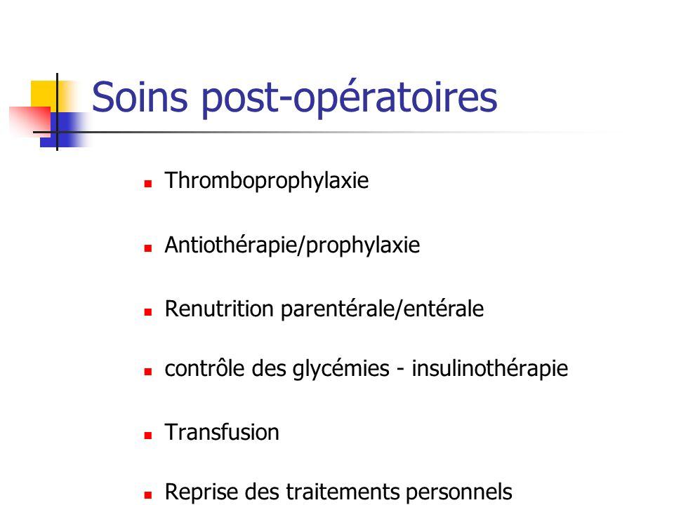 Thromboprophylaxie Antiothérapie/prophylaxie Renutrition parentérale/entérale contrôle des glycémies - insulinothérapie Transfusion Reprise des traite