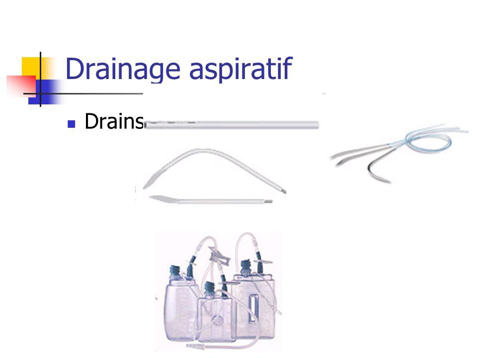 Drainage aspiratif Drains :