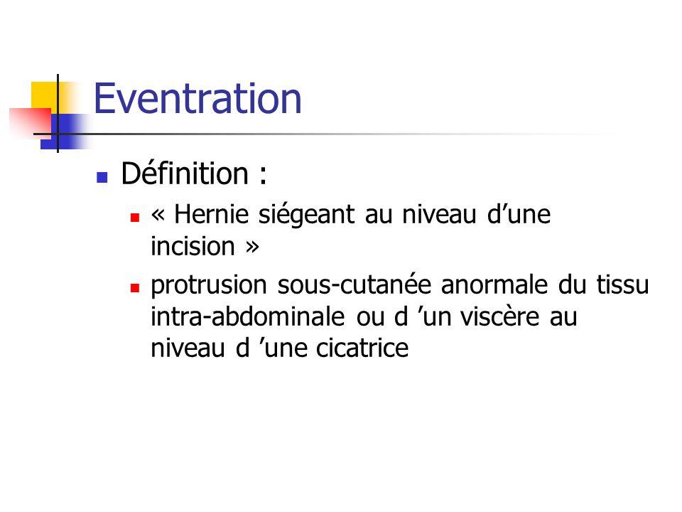 Eventration Définition : « Hernie siégeant au niveau dune incision » protrusion sous-cutanée anormale du tissu intra-abdominale ou d un viscère au niv