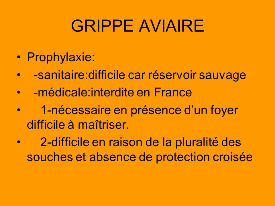 GRIPPE AVIAIRE Prophylaxie: -sanitaire:difficile car réservoir sauvage -médicale:interdite en France 1-nécessaire en présence dun foyer difficile à ma