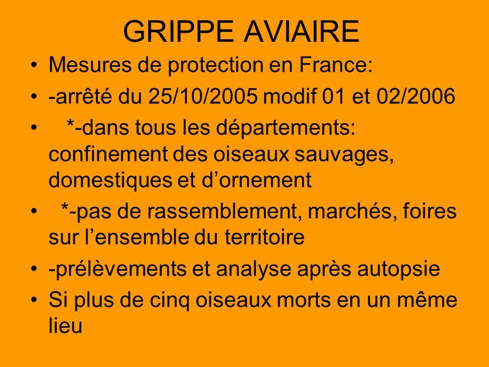 GRIPPE AVIAIRE Mesures de protection en France: -arrêté du 25/10/2005 modif 01 et 02/2006 *-dans tous les départements: confinement des oiseaux sauvag