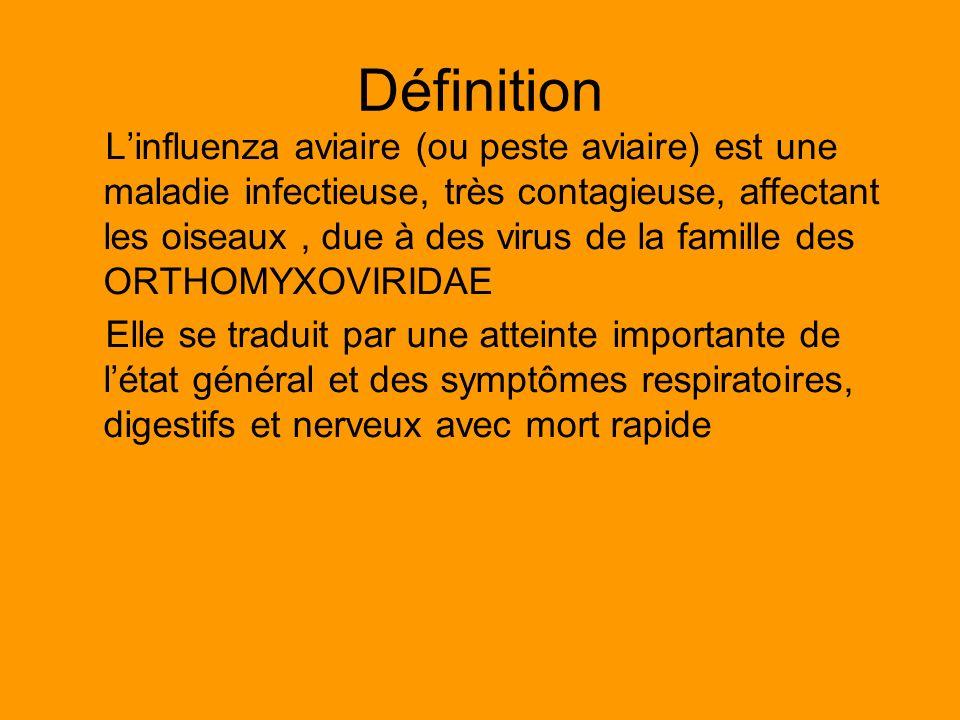 Définition Linfluenza aviaire (ou peste aviaire) est une maladie infectieuse, très contagieuse, affectant les oiseaux, due à des virus de la famille d