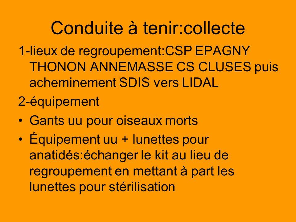 Conduite à tenir:collecte 1-lieux de regroupement:CSP EPAGNY THONON ANNEMASSE CS CLUSES puis acheminement SDIS vers LIDAL 2-équipement Gants uu pour o