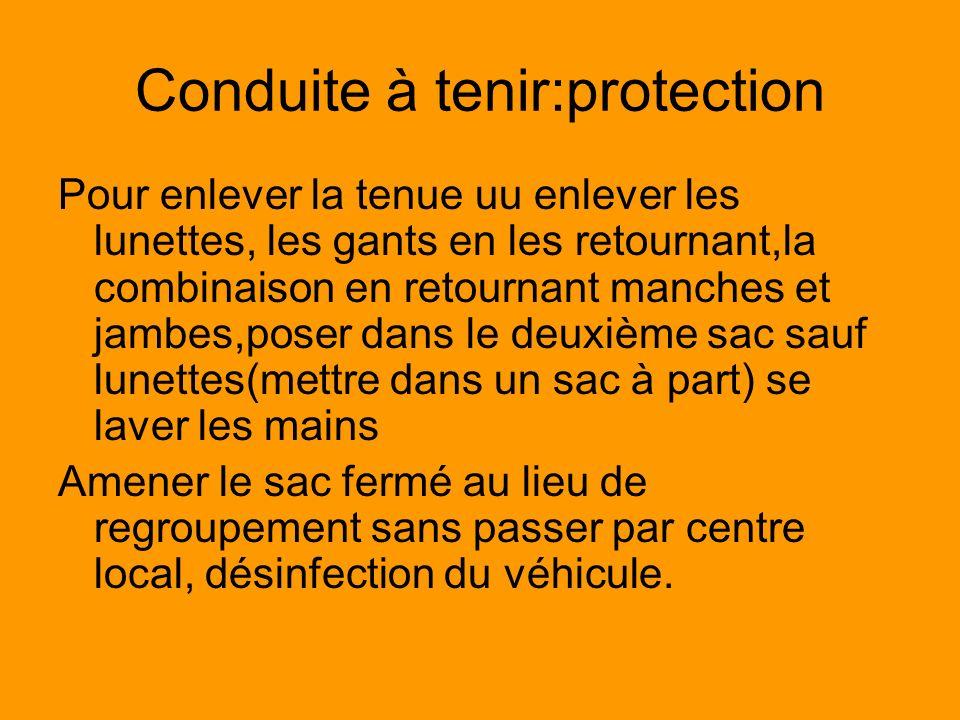 Conduite à tenir:protection Pour enlever la tenue uu enlever les lunettes, les gants en les retournant,la combinaison en retournant manches et jambes,
