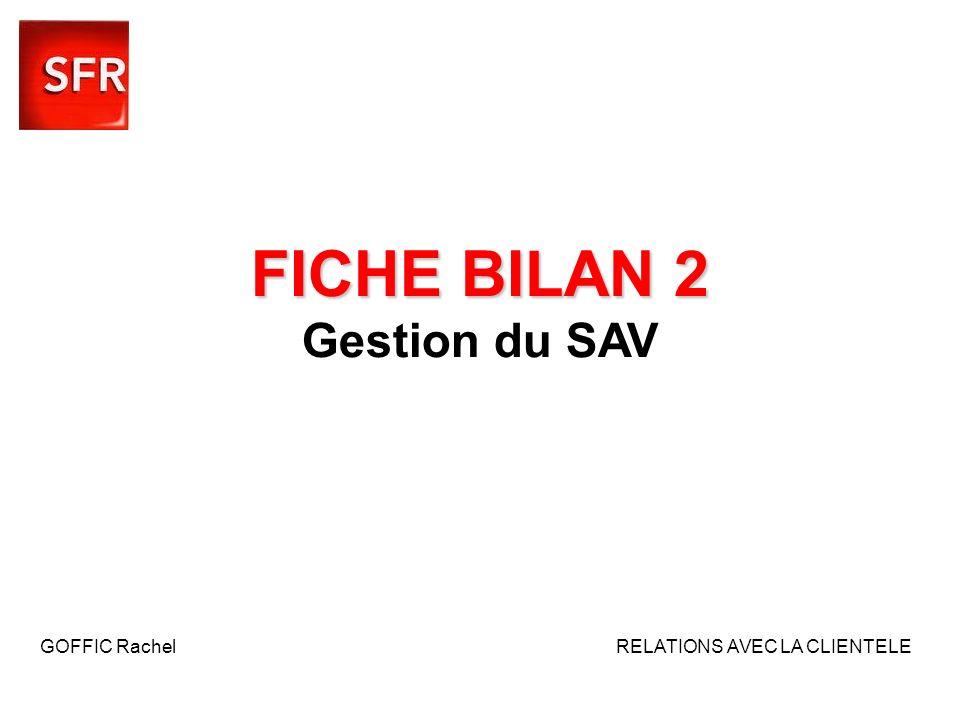 FICHE BILAN 2 FICHE BILAN 2 Gestion du SAV GOFFIC Rachel RELATIONS AVEC LA CLIENTELE