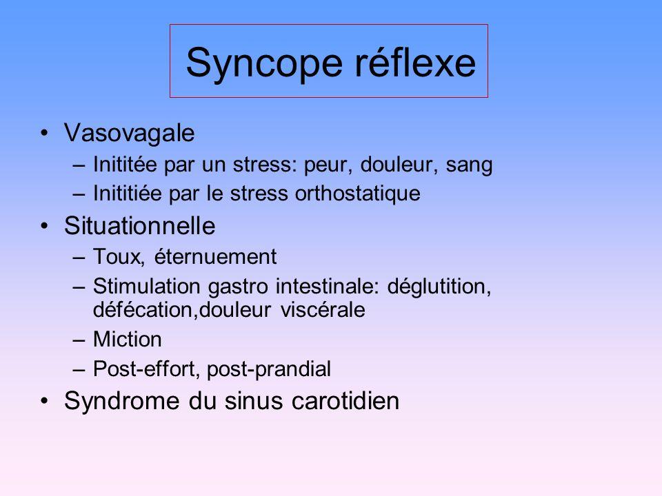 Syncope réflexe Vasovagale –Inititée par un stress: peur, douleur, sang –Inititiée par le stress orthostatique Situationnelle –Toux, éternuement –Stim
