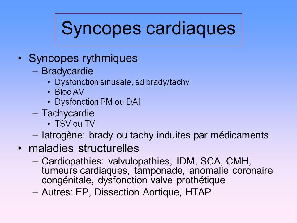 Syncopes cardiaques Syncopes rythmiques –Bradycardie Dysfonction sinusale, sd brady/tachy Bloc AV Dysfonction PM ou DAI –Tachycardie TSV ou TV –Iatrogène: brady ou tachy induites par médicaments maladies structurelles –Cardiopathies: valvulopathies, IDM, SCA, CMH, tumeurs cardiaques, tamponade, anomalie coronaire congénitale, dysfonction valve prothétique –Autres: EP, Dissection Aortique, HTAP