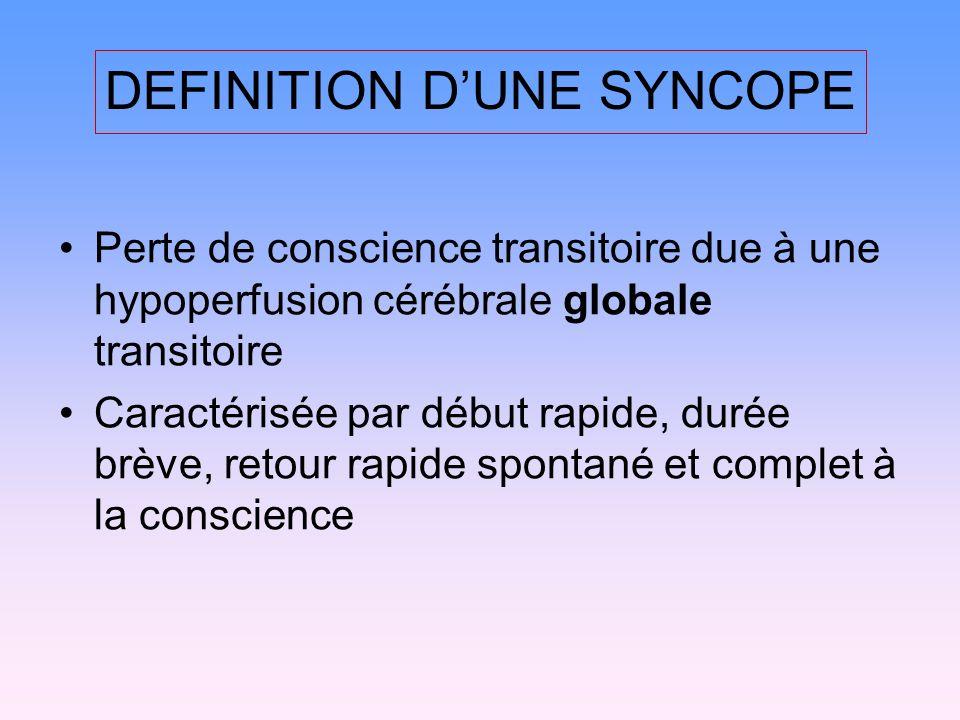 DEFINITION DUNE SYNCOPE Perte de conscience transitoire due à une hypoperfusion cérébrale globale transitoire Caractérisée par début rapide, durée brève, retour rapide spontané et complet à la conscience