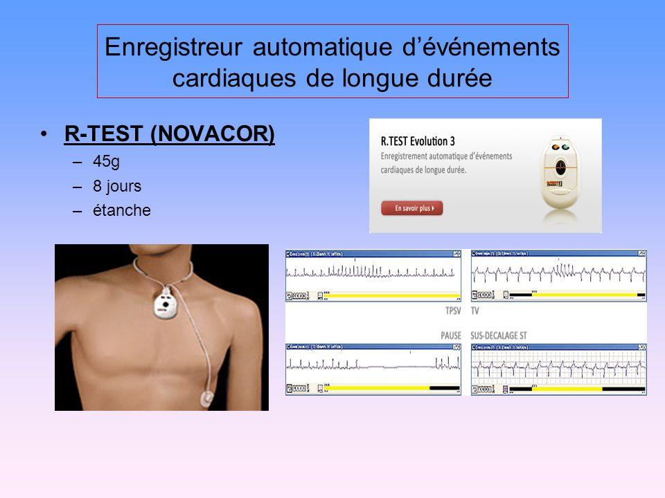 Enregistreur automatique dévénements cardiaques de longue durée R-TEST (NOVACOR) –45g –8 jours –étanche