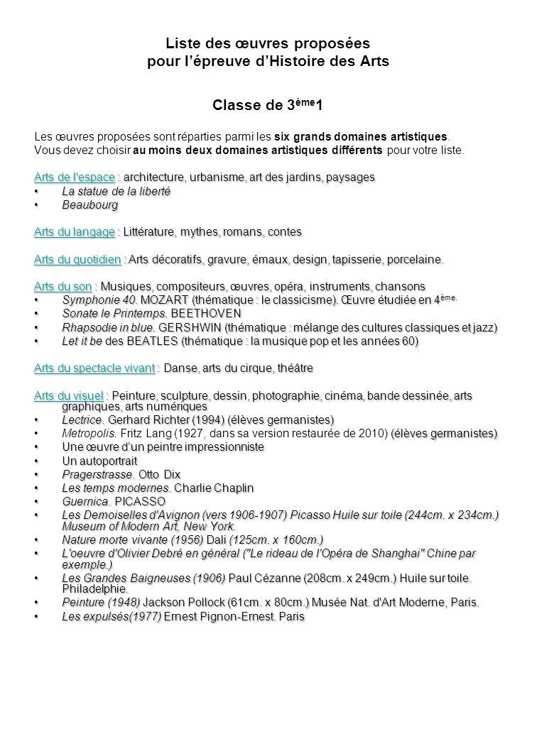 Liste des œuvres proposées pour lépreuve dHistoire des Arts Classe de 3 ème 1 Les œuvres proposées sont réparties parmi les six grands domaines artistiques.