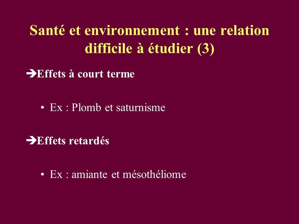 Santé et environnement : une relation difficile à étudier (3) Effets à court terme Ex : Plomb et saturnisme Effets retardés Ex : amiante et mésothélio