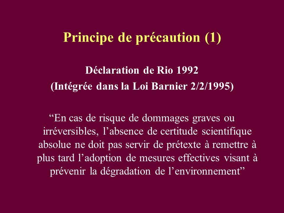 Principe de précaution (1) Déclaration de Rio 1992 (Intégrée dans la Loi Barnier 2/2/1995) En cas de risque de dommages graves ou irréversibles, labse