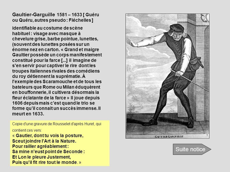 Gaultier-Garguille 1581 – 1633 [ Guéru ou Quéru, autres pseudo : Fléchelles ] identifiable au costume de scène habituel : visage avec masque à chevelu