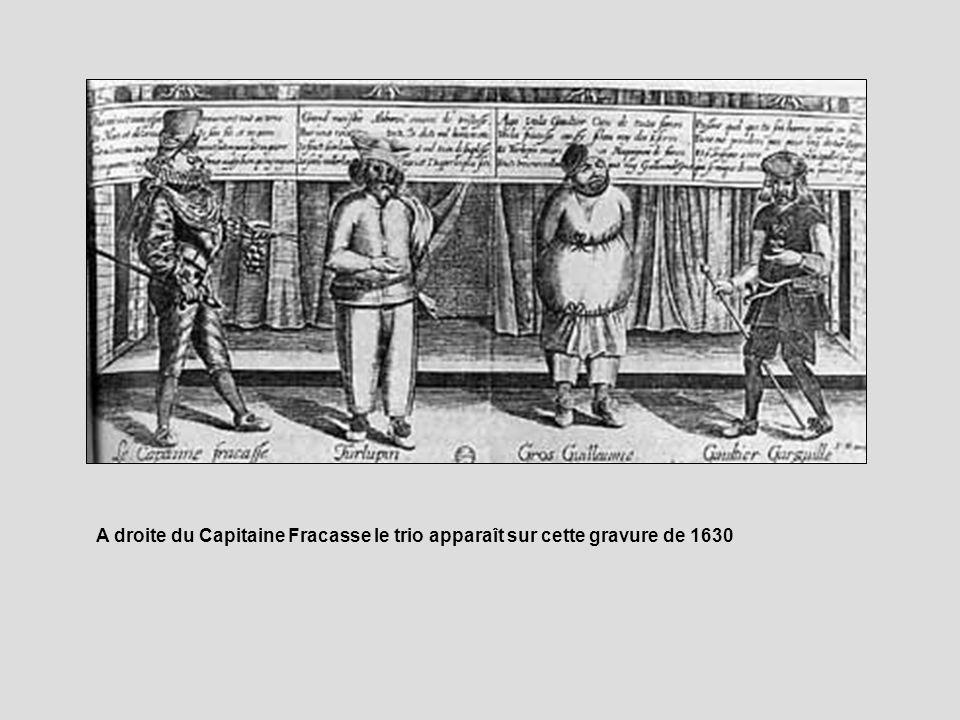A droite du Capitaine Fracasse le trio apparaît sur cette gravure de 1630