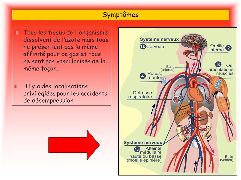 Symptômes Tous les tissus de l'organisme dissolvent de lazote mais tous ne présentent pas la même affinité pour ce gaz et tous ne sont pas vascularisé