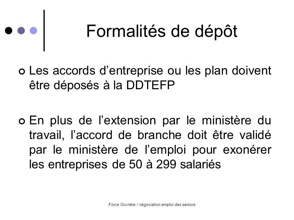 Force Ouvrière / négociation emploi des seniors Formalités de dépôt Les accords dentreprise ou les plan doivent être déposés à la DDTEFP En plus de lextension par le ministère du travail, laccord de branche doit être validé par le ministère de lemploi pour exonérer les entreprises de 50 à 299 salariés