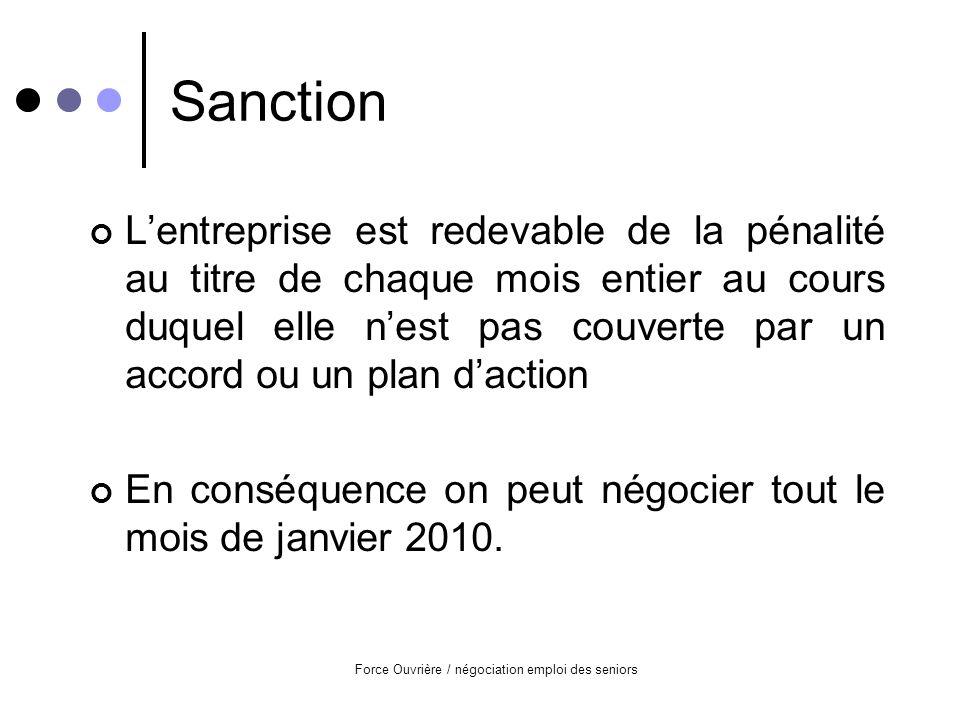 Force Ouvrière / négociation emploi des seniors Sanction Lentreprise est redevable de la pénalité au titre de chaque mois entier au cours duquel elle nest pas couverte par un accord ou un plan daction En conséquence on peut négocier tout le mois de janvier 2010.