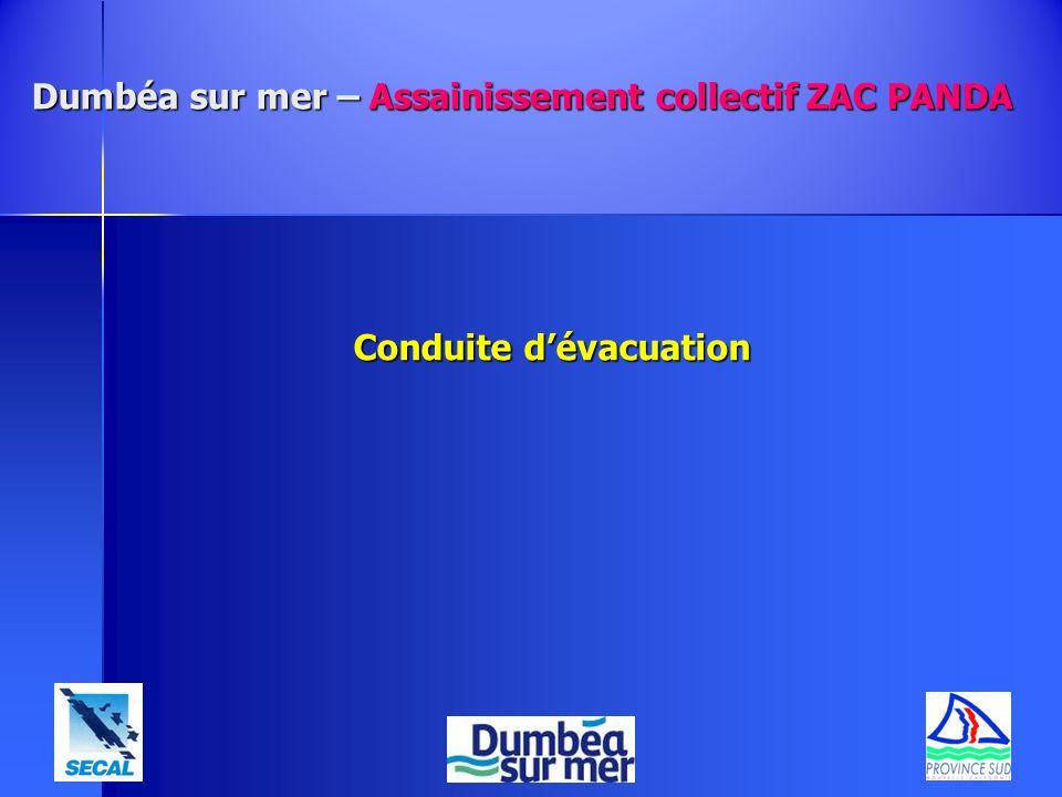 Dumbéa sur mer – Assainissement collectif ZAC PANDA Conduite dévacuation