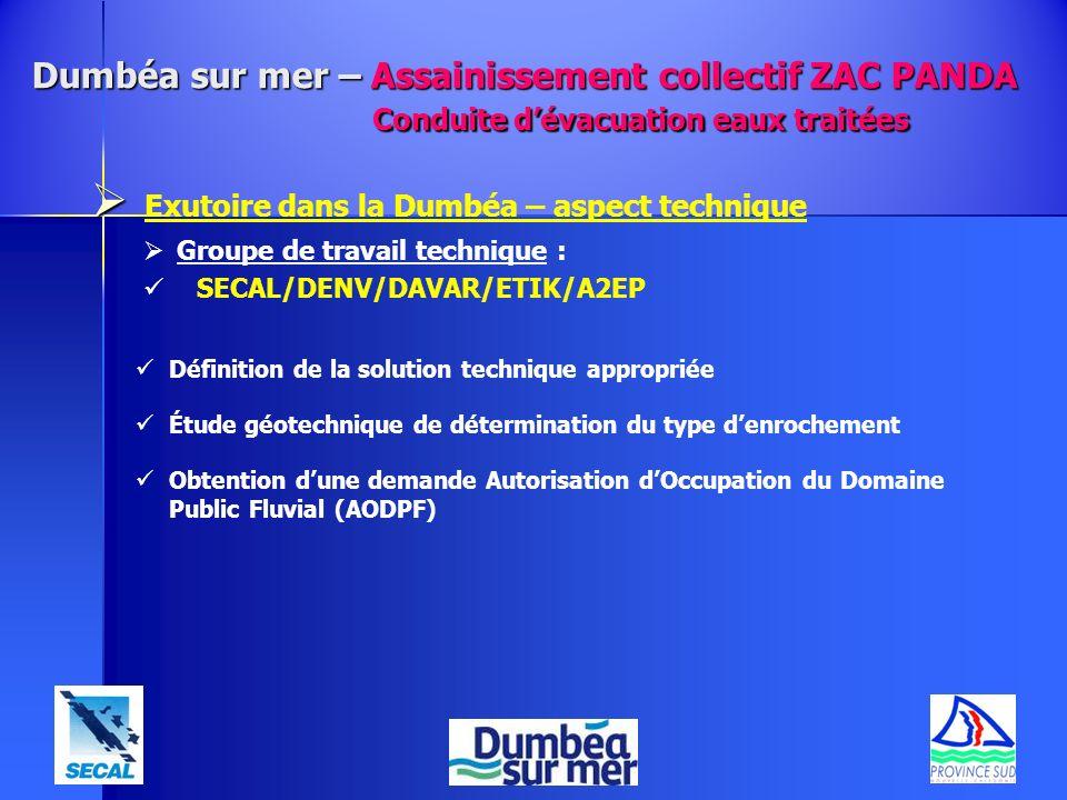 Exutoire dans la Dumbéa – aspect technique Groupe de travail technique : SECAL/DENV/DAVAR/ETIK/A2EP Définition de la solution technique appropriée Étu