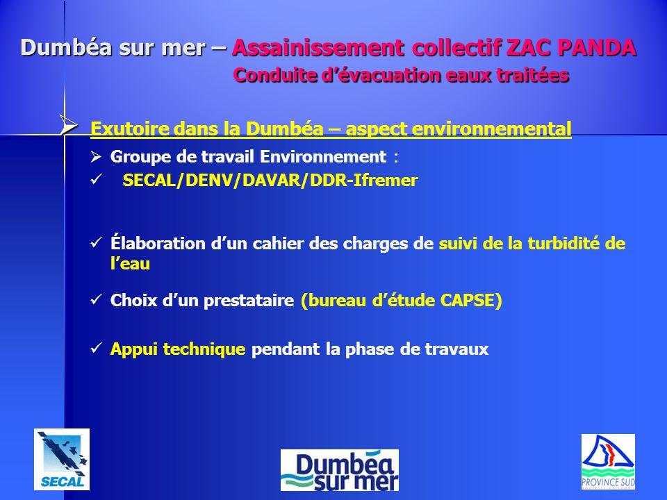 Exutoire dans la Dumbéa – aspect environnemental Groupe de travail Environnement : SECAL/DENV/DAVAR/DDR-Ifremer Élaboration dun cahier des charges de