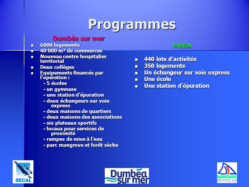Programmes Dumbéa sur mer 6000 logements 6000 logements 40 000 m² de commerces 40 000 m² de commerces Nouveau centre hospitalier territorial Nouveau c