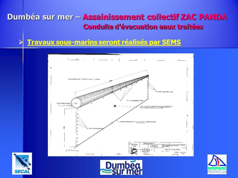 Dumbéa sur mer – Assainissement collectif ZAC PANDA Conduite dévacuation eaux traitées Travaux sous-marins seront réalisés par SEMS