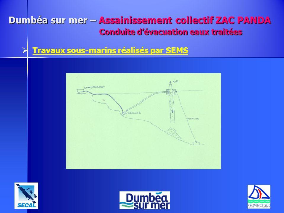 Dumbéa sur mer – Assainissement collectif ZAC PANDA Conduite dévacuation eaux traitées Travaux sous-marins réalisés par SEMS