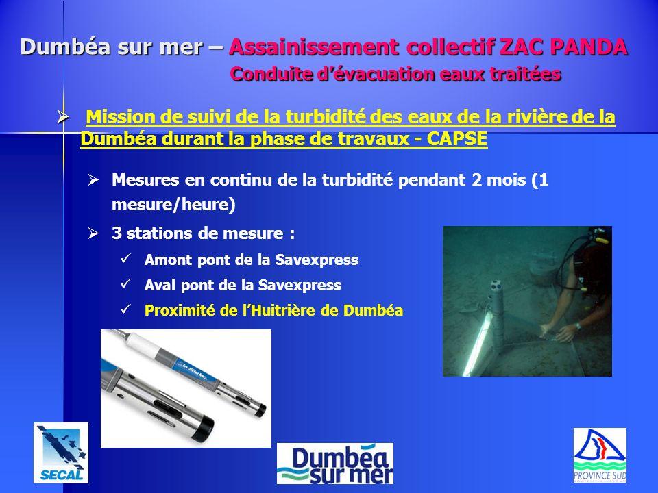 Mission de suivi de la turbidité des eaux de la rivière de la Dumbéa durant la phase de travaux - CAPSE Mesures en continu de la turbidité pendant 2 m