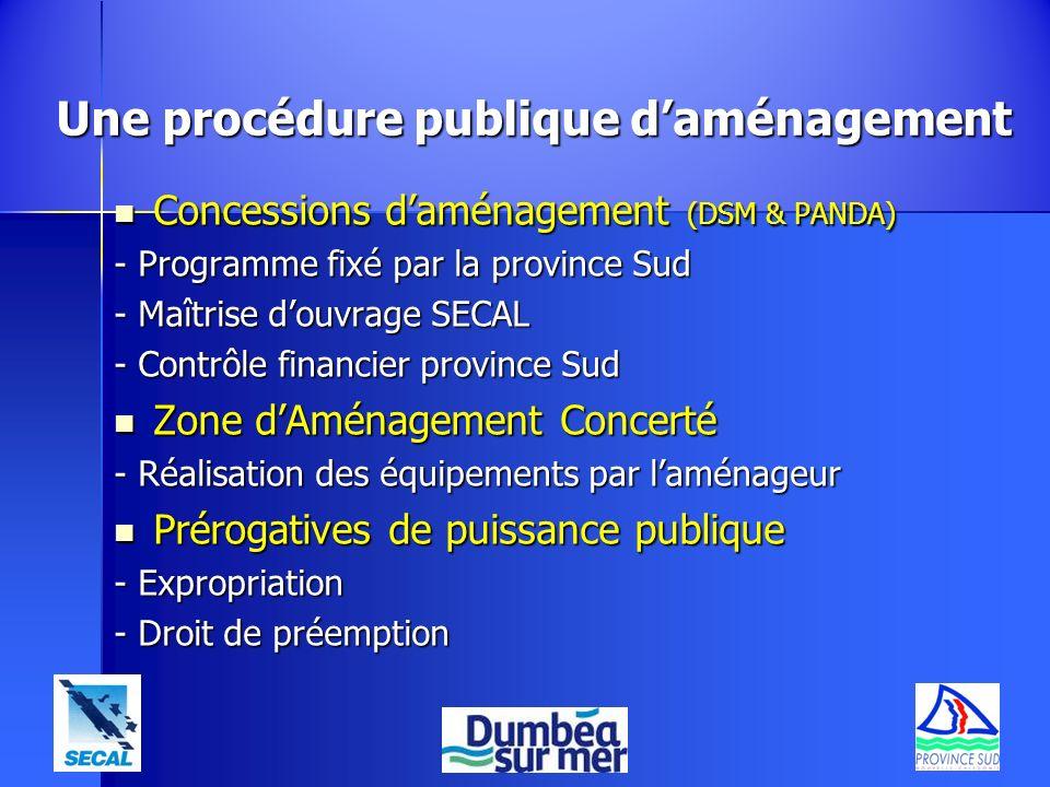 Une procédure publique daménagement Concessions daménagement (DSM & PANDA) Concessions daménagement (DSM & PANDA) - Programme fixé par la province Sud