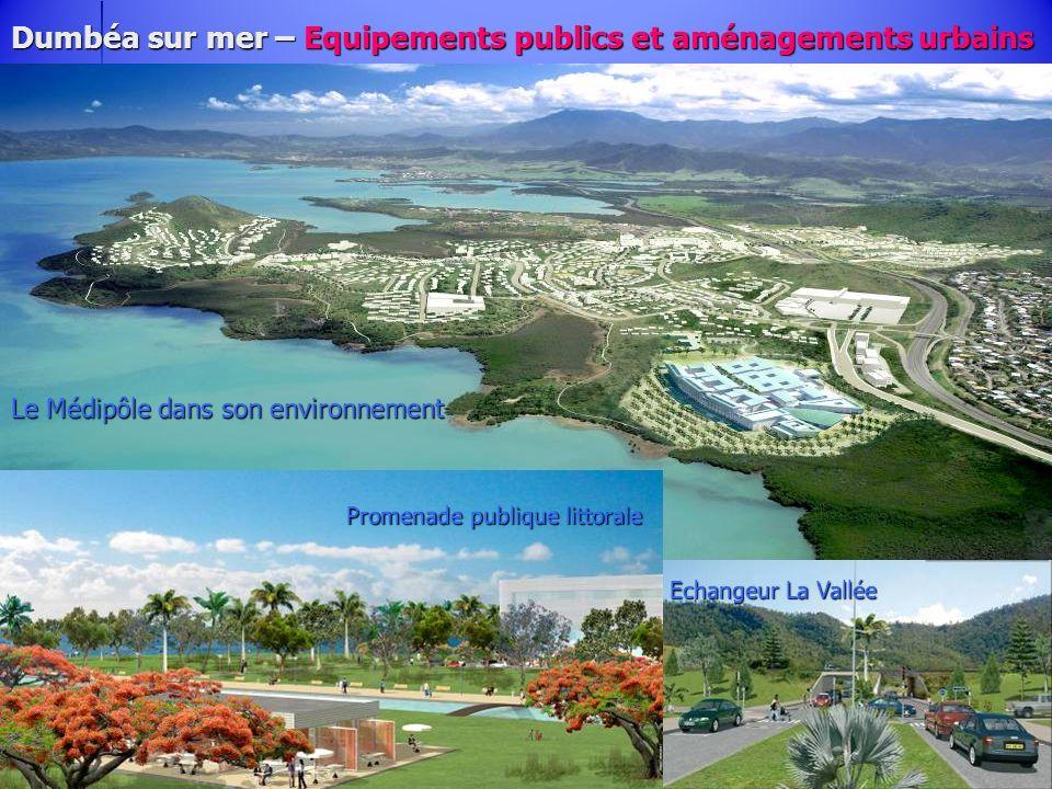 Dumbéa sur mer – Equipements publics et aménagements urbains Des espaces publics de qualité Le Médipôle dans son environnement Promenade publique litt
