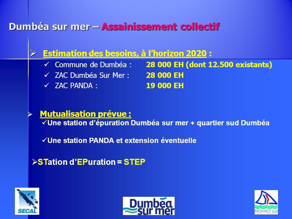 Estimation des besoins, à lhorizon 2020 : Commune de Dumbéa : 28 000 EH (dont 12.500 existants) ZAC Dumbéa Sur Mer : 28 000 EH ZAC PANDA : 19 000 EH M