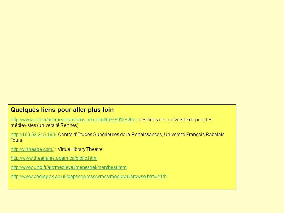 Quelques liens pour aller plus loin http://www.uhb.fr/alc/medieval/liens_ma.htm#th%E9%E2trehttp://www.uhb.fr/alc/medieval/liens_ma.htm#th%E9%E2tre : des liens de luniversité de pour les médiévistes (université Rennes) http://193.52.215.193/http://193.52.215.193/ Centre dÉtudes Supérieures de la Renaissances, Université François Rabelais Tours http://vl-theatre.com/http://vl-theatre.com/ : Virtual library Theatre http://www.theatrales.uqam.ca/biblio.html http://www.uhb.fr/alc/medieval/menestrel/mentheat.htm http://www.bodley.ox.ac.uk/dept/scwmss/wmss/medieval/browse.htm#11th