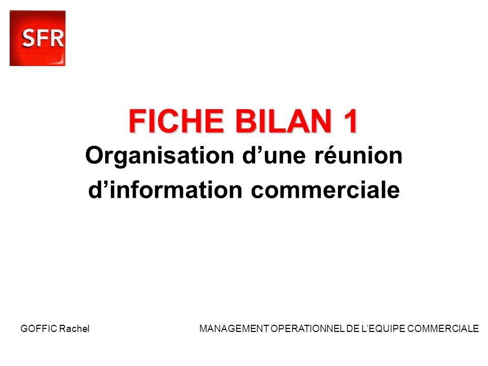 FICHE BILAN 1 FICHE BILAN 1 Organisation dune réunion dinformation commerciale GOFFIC Rachel MANAGEMENT OPERATIONNEL DE LEQUIPE COMMERCIALE