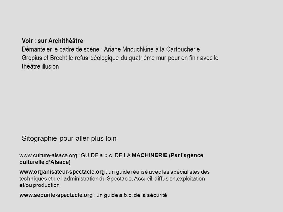 Sitographie pour aller plus loin www.culture-alsace.org : GUIDE a.b.c. DE LA MACHINERIE (Par lagence culturelle dAlsace) www.organisateur-spectacle.or