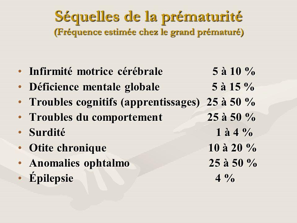 Séquelles de la prématurité (Fréquence estimée chez le grand prématuré) Infirmité motrice cérébrale 5 à 10 %Infirmité motrice cérébrale 5 à 10 % Défic