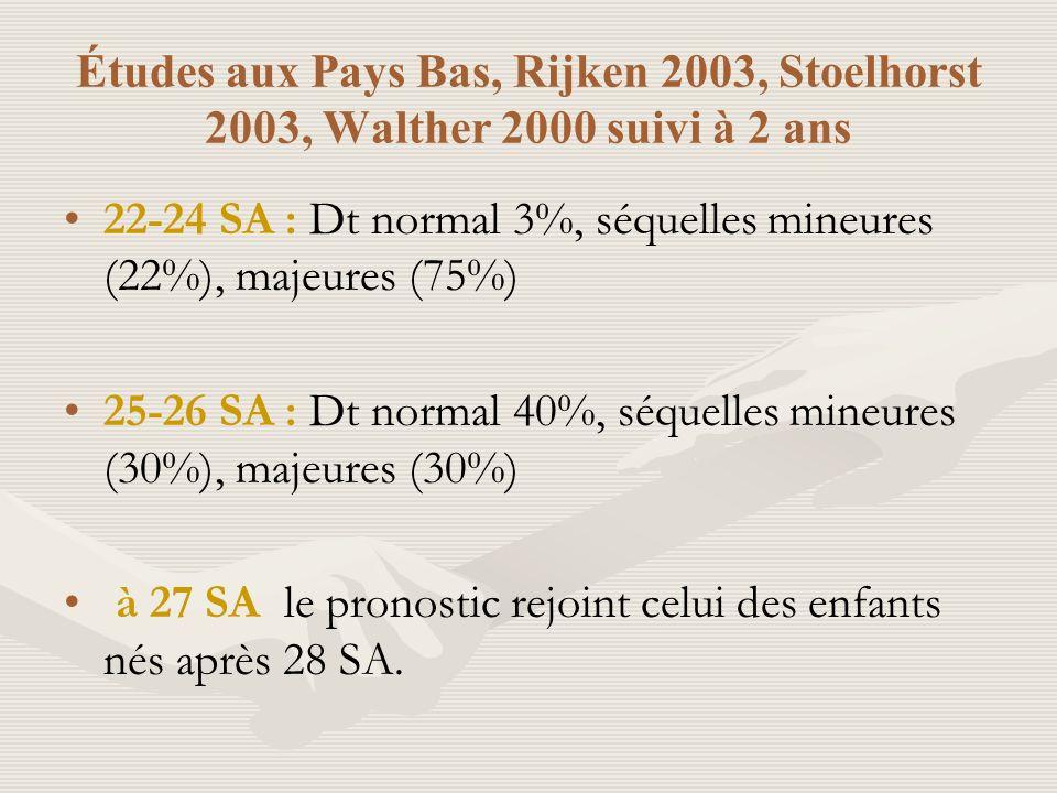 Études aux Pays Bas, Rijken 2003, Stoelhorst 2003, Walther 2000 suivi à 2 ans 22-24 SA : Dt normal 3%, séquelles mineures (22%), majeures (75%) 25-26